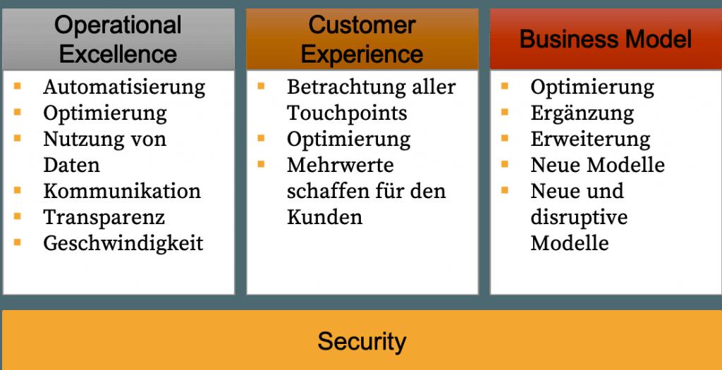 - Der Geschäftsbetrieb (Operational Excellence) - Das Geschäftsmodell (Business Model) - Die Schnittstellen zwischen Unternehmen und Ihren Kunden (Customer Experience)